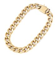 Sale 8928 - Lot 302 - AN 18CT GOLD BRACELET; hollow curb link chain to box clasp with safety catch, length 18.5cm, wt. 15.8g.