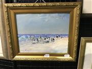 Sale 8990 - Lot 2039 - Donald Fraser Beach Scene, oil on board, frame: 28 x 33 x 3 cm, signed lower right,