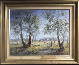 Sale 9106 - Lot 2091 - Brad Boyd A Homestead Scene in Spring oil on canvas 86 x 104 cm, signed