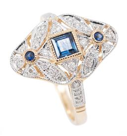 Sale 9169 - Lot 362 - A 9CT GOLD EDWARDIAN STYLE SAPPHIRE AND DIAMOND RING; pierced navette shape top centring a carre cut blue sapphire to surround and s...