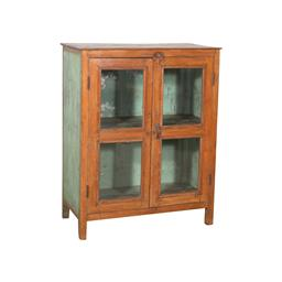Sale 9216S - Lot 40 - A rustic glass and timber display cabinet with two doors, Height 124cm x Width 99cm x Depth 50cm