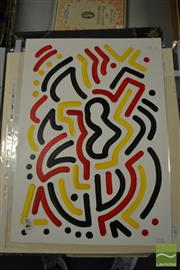Sale 8441A - Lot 5043 - Jack Vigor (Street Artist, CASPER) (3 works) - Untitled (Black, Red, Yellow) 42.5 x 30cm, each