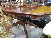Sale 8447 - Lot 1054 - Shield Top Coffee Table on Carved Quad Base (H 54cm x L 122cm x W 72cm)