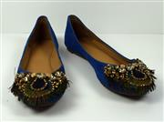 Sale 8460F - Lot 33 - A pair of Belvio blue suede pumps with peacock feather and diamante design, light wear, size 39