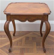 Sale 8470H - Lot 131 - A pair of walnut occasional lamp tables with quarter veneered tops on cabriole legs, H 64 x W 67 x D 67cm