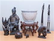 Sale 8562A - Lot 214 - A small group of decorative world wide wares including terracotta kneeling warrior, Ethiopian figures, oriental stand, ceramic pot etc