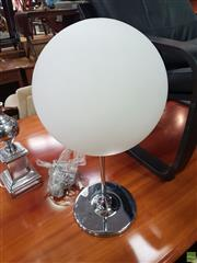 Sale 8593 - Lot 1090 - Chrome Table Lamp with Glass Shade