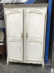 Sale 8942 - Lot 1097 - Large White Painted French Armoire (H: 201, W: 142, D: 59cm)