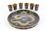 Sale 8972 - Lot 33 - Cloisonne Dragon Themed Dish Dia 20cm With Six Shot Glasses