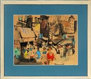 Sale 8992 - Lot 577 - French School - Street Scene 31 x 39.5 cm (frame: 49 x 57 x 4 cm)