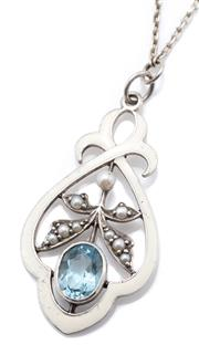 Sale 9066 - Lot 330 - A NOUVEAU STYLE ENAMELLED SILVER AND GEMSET PENDANT NECKLACE; stylised flower set with an oval cut topaz and seed pearl set leaves w...