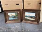 Sale 9061 - Lot 2079 - G. Christie (Two Works) Ben Lomond & Lime Kiln Bay, oil on board, frame: 43 x 53 cm, both, each signed lower right -