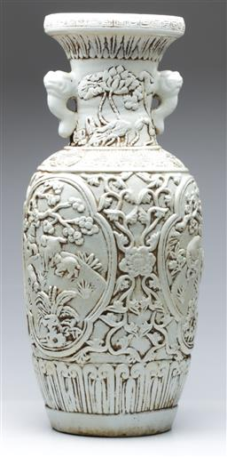 Sale 9098 - Lot 73 - A Large Twin Handle Spring Themed Chinese Vase (H 63cm)