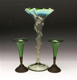 Sale 9098 - Lot 357 - Pair of Green Swirl Form Trumpet Vases (h:15.5cm) together with a Large Example (h:30cm)