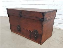 Sale 9126 - Lot 1182 - Small Japanese Meiji Pine Chest, with iron mounts, hinged top, with long & short drawers to base (some faults, H: 47 x L: 132 x D: 4...