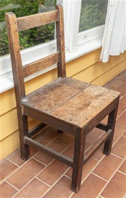 Sale 9120H - Lot 250 - A single rustic oak chair, Height of back 88cm