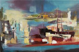 Sale 9141 - Lot 508 - Reinis Zusters (1919 - 1999) Harbour Encounters oil on canvas laid on board 59.5 x 90 cm (frame: 80 x111 x 4 cm) signed lower left