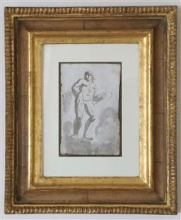 Sale 9135H - Lot 116 - After Pedrini, Adonis, from Bolognese, Italy, circa 1740, pen and wash on paper in hand made walnut veneer & water gilt frame, frame...