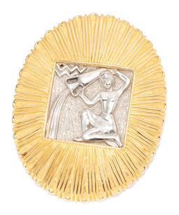 Sale 9168J - Lot 348 - A JUDITH LIEBER LARGE AQUARIUS PENDANT BROOCH; square silver tone plaque depicting water barer to radiating oval gold tone surround,...