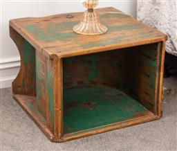 Sale 9160H - Lot 248 - An industrial pine grinding box with distressed green paint finish, repurposed as a side table, Height 37cm x Width 50cm x Depth 47cm