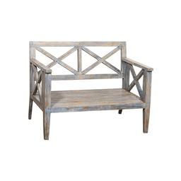 Sale 9216S - Lot 7 - A distressed painted timber bench, Height 87cm x Width 112cm x Depth 74cm