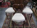 Sale 7919A - Lot 1735 - Set of 3 Victorian Cedar Kidney Back Chairs with white upholstery