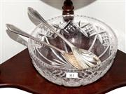 Sale 8088A - Lot 81 - English Stuart hand cut lead crystal large bowl with a pair of silver plate salad servers