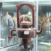 Sale 8365 - Lot 22 - Carved Stoneware Chinese Teapot, H 28cm