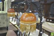Sale 8302 - Lot 1028 - Pair of Amber Shade Standard Lamps