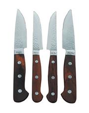 Sale 8340B - Lot 88 - Laguiole by Louis Thiers Set of 4 Artisan Steak Knives w Red Wood Handles RRP $899