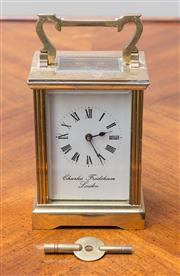 Sale 8470H - Lot 139 - A Charles Frodsham, London, brass carriage clock, H 12cm, no 83734 with key