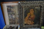 Sale 8537 - Lot 2105 - Group of (2) C19th Prints: Battle Scene, chromolithograph, 62 x 77cm (frame size);  Virgin Mary and Christ Child. print (AF), 76 x 6...