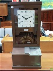 Sale 8566 - Lot 1066 - Vintage National Bundy Clock (82 x 32 x 38)