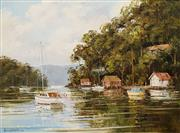 Sale 8575A - Lot 5002 - John Hingerty (1930 - ) - Reflections, Pittwater 1990 44.5 x 59.5cm