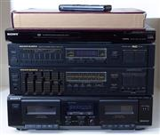 Sale 8593A - Lot 52 - A Sony Dolby stereo cassette player, DVD player, plus a Marantz tuner and amplifier, plus 2 x Boston standing speakers, and 2 x Sher...