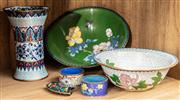 Sale 8942H - Lot 96 - A small quantity of cloisonné wares including bowls, napkin holder, incense holder and vase
