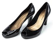Sale 9027F - Lot 97 - A pair of Jane Dempster black patent leather peep toes, size 7.5