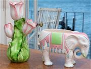 Sale 8990H - Lot 23 - A Fitz and Floyd Elephant form jardiniere together with a tulip vase, Height of tulip vase 29cm