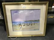 Sale 8990 - Lot 2040 - Donald Fraser Beach Scene, oil on board, 31 x 36 x 2 cm, signed