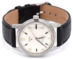 Sale 9090J - Lot 393 - A VINTAGE ELGIN AUTOMATIC WRISTWATCH; in stainless steel with Arabic and baton markers, center seconds, 17 jewel AS 1902 movement, c...