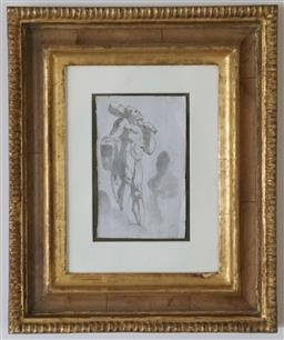 Sale 9135H - Lot 117 - After Pedrini, Hercules, from Bolognese, Italy, circa 1740, pen and wash on paper in hand made walnut veneer & water gilt frame, fra...