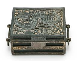 Sale 9209 - Lot 29 - A Chinese spelter jewellery box with engraved dragon (W:10cm)