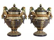 Sale 8391 - Lot 67 - Gerbing & Stephan Majolica Pair of Lidded Urns