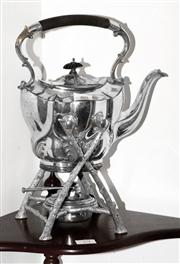 Sale 8088A - Lot 80 - A Edwardian silver plate tea kettle on stand with burner