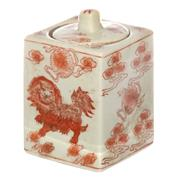 Sale 8342A - Lot 71 - An iron red lidded jar with fo dog design, H 14cm