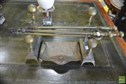 Sale 8291 - Lot 1089 - Antique Brass Fire Tools, Fire Dogs & Crumb Tray
