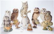 Sale 8376A - Lot 61 - A collection of 12 Owl figures, four filled with Whiskey by Royal Doulton, other makers unknown, Ht: 16cm (Doulton owls), Royal Doul...