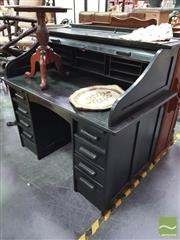 Sale 8418 - Lot 1095 - Black Painted Roll Top Desk