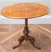 Sale 8470H - Lot 133 - A Victorian burr walnut and marquetry occasional table with marquetry top with star inlay, H 69cm