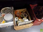 Sale 8478 - Lot 2549 - 2 Boxes & Bag of Sundries incl. Tins, Jugs, Signs, etc
